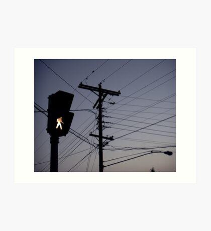 Crosswalk light Art Print