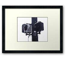 Frozen crosswalk light Framed Print