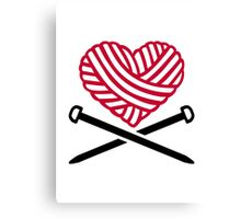 Red wool heart knitting Canvas Print