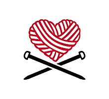 Red wool heart knitting Photographic Print