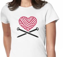 Red wool heart knitting Womens Fitted T-Shirt