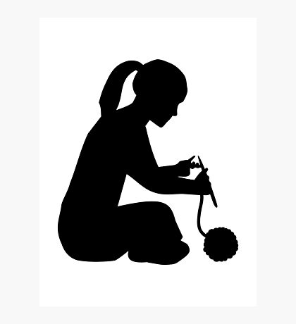 Knitting girl woman Photographic Print