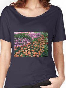 Pink and Orange Frilled Tulips - Keukenhof Gardens Women's Relaxed Fit T-Shirt