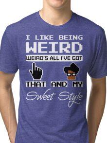 8 Bit Retro Moss I Like Being Weird Tri-blend T-Shirt