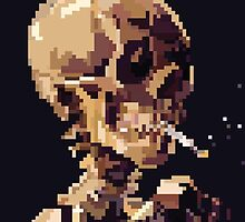 Skull of a Skeleton with Burning Cigarette by randomthunkarts