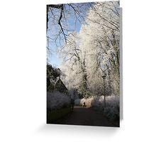 Frost decorated park Greeting Card