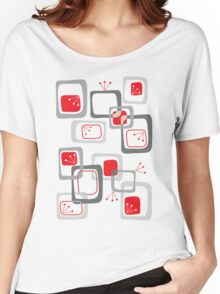 Retro Red Cherry Squares Women's Relaxed Fit T-Shirt