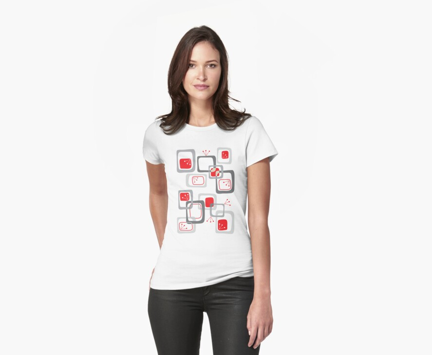 Retro Red Cherry Squares T-shirt by fatfatin