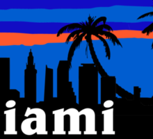 Miami palm trees, skyline silhouette Sticker