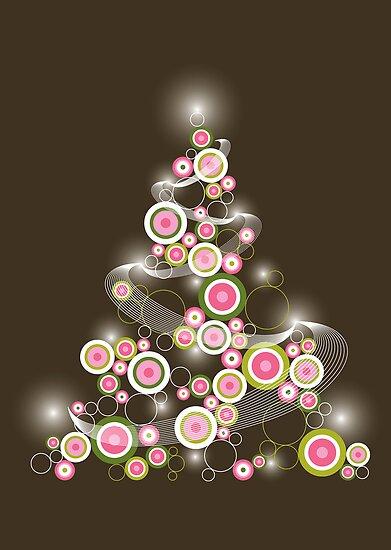 Pink Retro Circles Christmas Tree by fatfatin