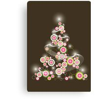 Pink Retro Circles Christmas Tree Canvas Print