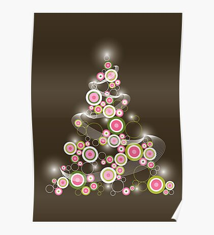 Pink Retro Circles Christmas Tree Poster