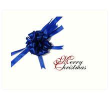 Merry Christmas - Blue Bow Art Print
