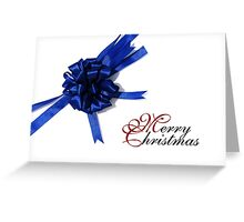 Merry Christmas - Blue Bow Greeting Card