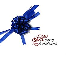 Merry Christmas - Blue Bow Photographic Print