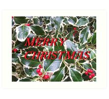 Merry Christmas Holly and Berries Card Art Print