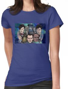 Faces Of Dr. Who Womens Fitted T-Shirt