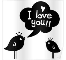 Love Birds Black Poster