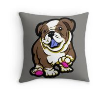 Happy Bulldog Puppy Brown  Throw Pillow