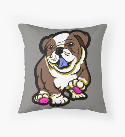 Happy Bulldog Puppy Brown  Throw Pillow