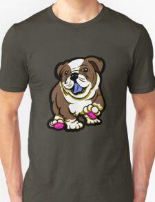 Happy Bulldog Puppy Brown  Unisex T-Shirt