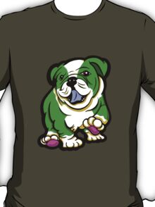 Happy Bulldog Puppy Green and White  T-Shirt