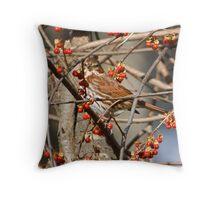 Foxy Sparrow Throw Pillow