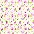 Pink Rose Repeating Pattern by Violet Lebeaux