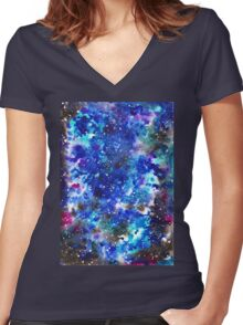 watercolor night sky Women's Fitted V-Neck T-Shirt