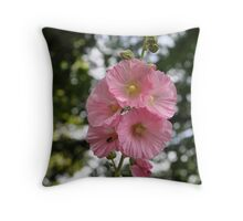 Hollyhock and Visitor Throw Pillow
