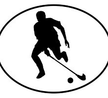 Field Hockey Player Silhouette Oval by kwg2200