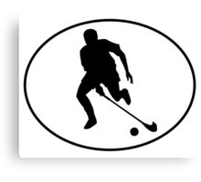 Field Hockey Player Silhouette Oval Canvas Print