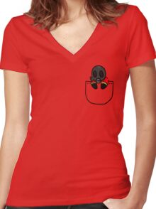 TeamFortress 2 Pocket Pyro (Red) Women's Fitted V-Neck T-Shirt