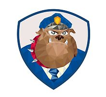 Bulldog Policeman Shield Low Polygon by patrimonio