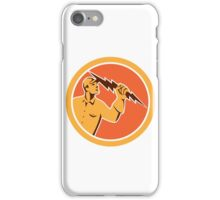 Electrician Holding Lightning Bolt Circle Retro iPhone Case/Skin
