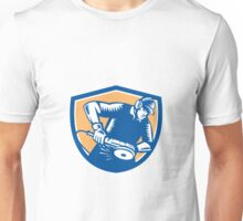 Metal Worker Operating Grinder Woodcut Retro Unisex T-Shirt