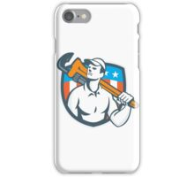 Plumber Holding Wrench USA Flag Retro iPhone Case/Skin