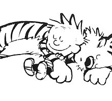 Calvin & Hobbes Sleeping by nitsirk51