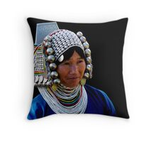 AKHA GIRL - GOLDEN TRIANGLE Throw Pillow