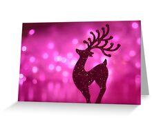 Pink bokeh reindeer Greeting Card