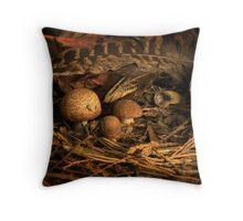 Fungi and Pheasant Feathers Throw Pillow