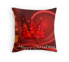 Red christmas design with text Throw Pillow