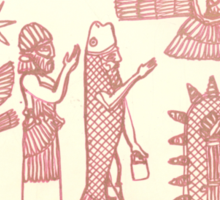 men dressed as fish, man holding an ostrich Sticker