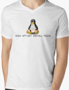 Linux - Get Install Pizza Mens V-Neck T-Shirt