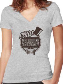 Melbourne Comics Wanker Women's Fitted V-Neck T-Shirt