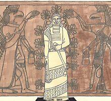 gel pen drawing of ashurnasirpal and eagle-headed men by purplestgirl