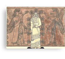gel pen drawing of ashurnasirpal and eagle-headed men Canvas Print