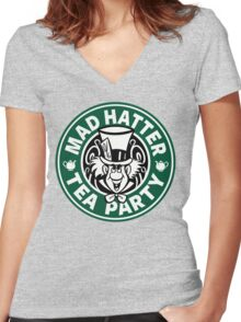 Mad Hatter Tea Party Women's Fitted V-Neck T-Shirt