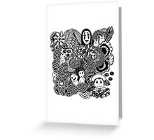 Ghibli inspired black and white doodle art Greeting Card