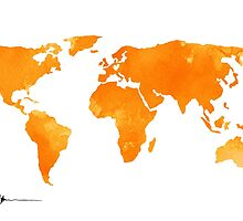 Yellow world map silhouette for sale by Joanna Szmerdt